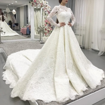 Modern lace wedding dresses with sleeves | Wedding dresses A line_2
