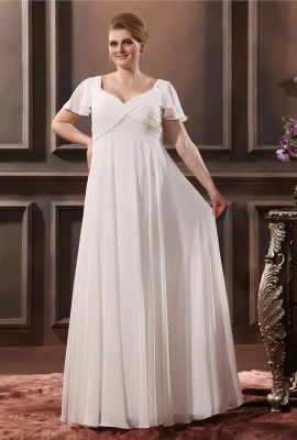 Cheap Wedding Dresses Plus Size White With Sleeves Large Size Wedding Dresses_1