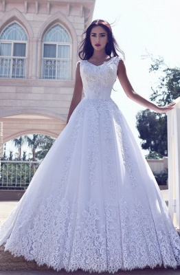 White Wedding Dresses Long Sleeves Lace A Line Tulle Bridal Wedding Gowns_1