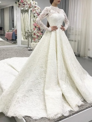 Modern lace wedding dresses with sleeves | Wedding dresses A line_1