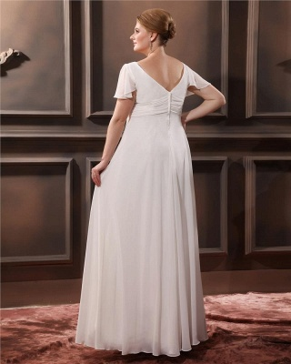 Cheap Wedding Dresses Plus Size White With Sleeves Large Size Wedding Dresses_2