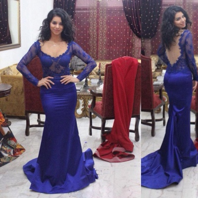 Slim evening dresses royal blue with lace sleeves prom dresses online_2