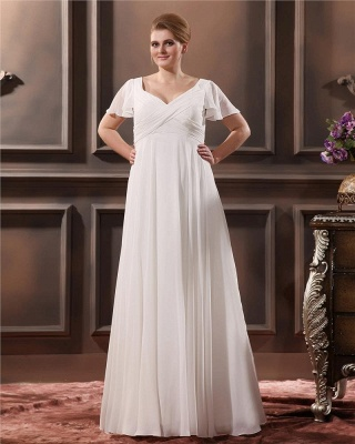 Cheap Wedding Dresses Plus Size White With Sleeves Large Size Wedding Dresses_5