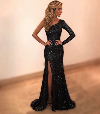 Black evening dresses long cheap with sleeves sheath dresses prom dresses online_2