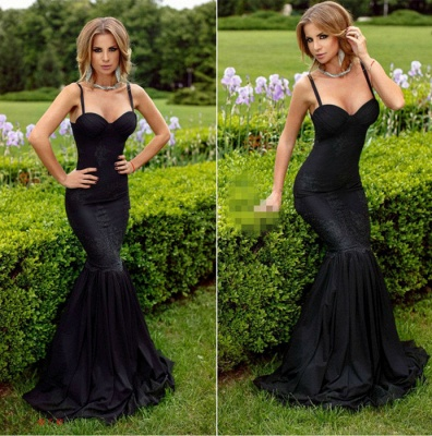 Lace Evening Dresses Black Long Evening Wear Mermaid Prom Dresses_2