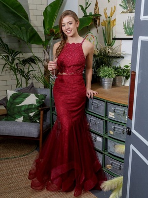 Designer Wine Red Long Evening Dresses With Lace 2 Piece Prom Dresses Evening Wear Online_1