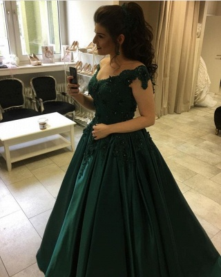 Modern green evening dresses long with lace princess prom dresses floor length evening wear_1