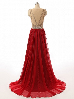 2 color red evening dresses long cheap straps tulle evening wear prom dresses_3