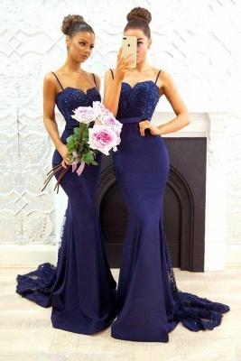 Blau Brautjungfernkleider Lang Günstig Meerjungfrau Kleider Für Brautjungfern Hochzeit_1