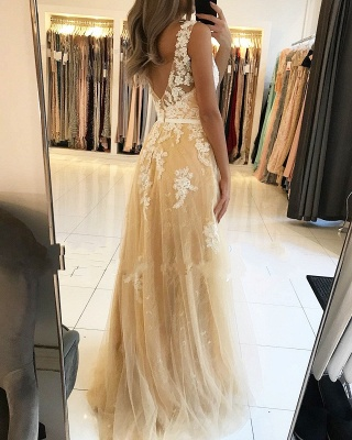 Fashion Evening Dresses Champagne Lace Long Evening Wear Prom Dresses Online_2
