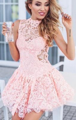 Rosa Cocktailkleider Kurze | Mini Abendkleider mit Spitze Online_1