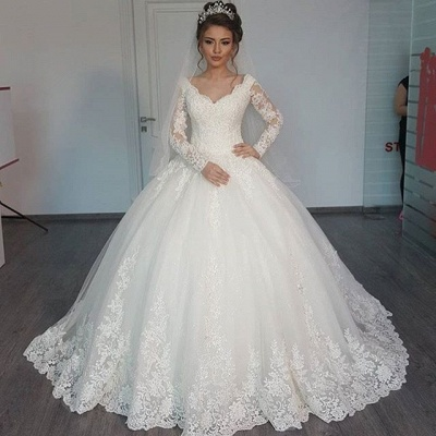 Long Sleeves Wedding Dresses White With Pearls Heart A Line Bridal Wedding Dresses_2