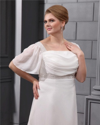 White Wedding Dresses Plus Size With Sleeves Beaded A Line Chiffon Plus Size Wedding Gowns_3