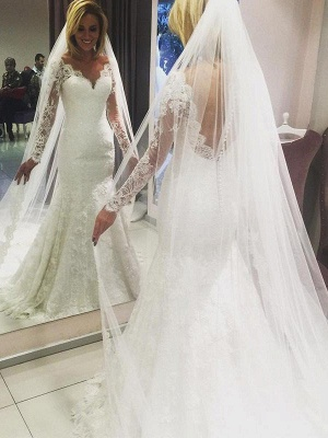 Modern white lace wedding dresses with sleeves mermaid wedding gowns cheap online_1