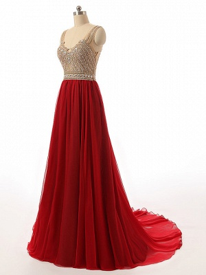 2 color red evening dresses long cheap straps tulle evening wear prom dresses_2