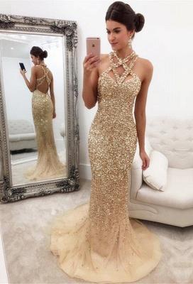 Luxury Abschlussballkleider Lang Golden Perlen Meerjungfrau Ballkleider Online_1
