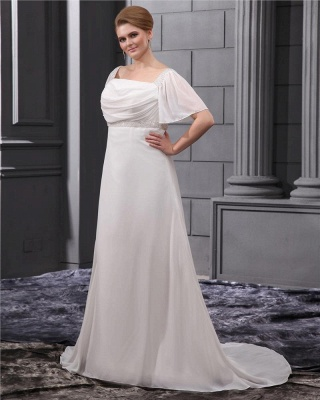 White Wedding Dresses Plus Size With Sleeves Beaded A Line Chiffon Plus Size Wedding Gowns_5