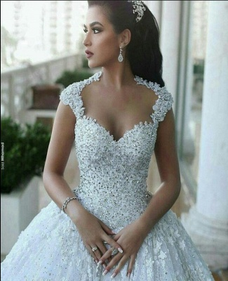 Luxury princess wedding dresses lace beaded wedding gowns cheap online_3