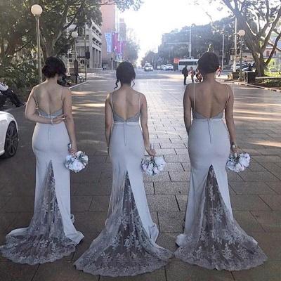 Blau Brautjungfernkleider Lang Günstig Meerjungfrau Kleider Für Brautjungfern Hochzeit_4