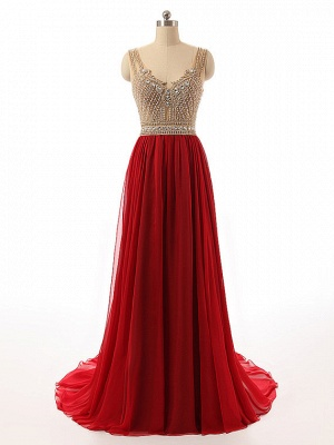 2 color red evening dresses long cheap straps tulle evening wear prom dresses_1