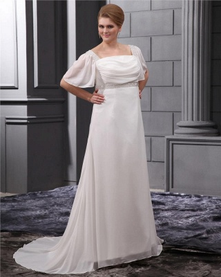 White Wedding Dresses Plus Size With Sleeves Beaded A Line Chiffon Plus Size Wedding Gowns_4
