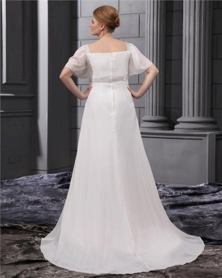 White Wedding Dresses Plus Size With Sleeves Beaded A Line Chiffon Plus Size Wedding Gowns_2