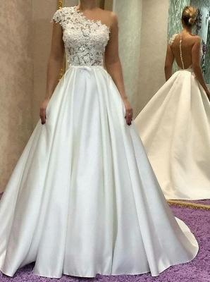 Schlichtes Brautkleid A Linie | Hochzeitskleider Mit Spitze Online_1
