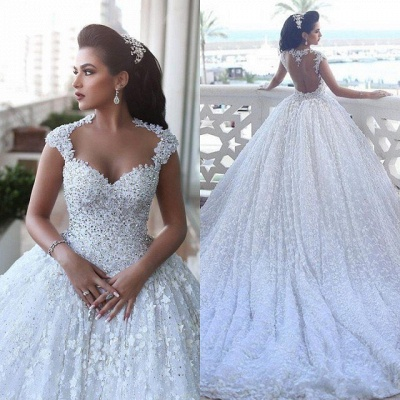 Luxury princess wedding dresses lace beaded wedding gowns cheap online_4