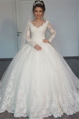 Long Sleeves Wedding Dresses White With Pearls Heart A Line Bridal Wedding Dresses_1