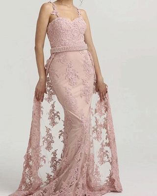 Rosa Abendkleider Lang Spitze | Abendmoden Abiballkleider Online_1