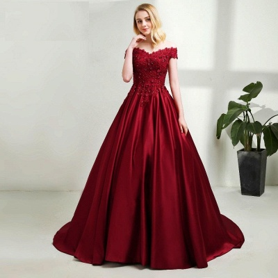 Red evening dresses long with lace princess evening wear prom dresses blue_4