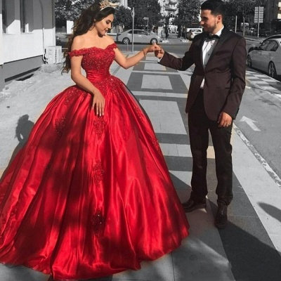 Red Evening Dresses Long With Lace Princess Satin Prom Dresses Evening Wear Floor Length_3