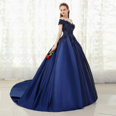 Red evening dresses long with lace princess evening wear prom dresses blue_2
