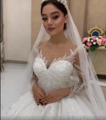 Weiße Brautkleider Prinzessin Perlen Tüll Schlepper Brautmoden Hochzeitskleider_2