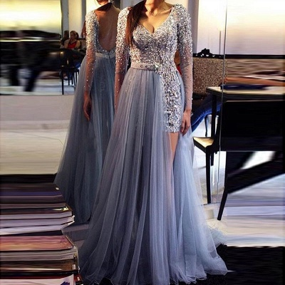 Fashion Blue Evening Dresses With Ämrel Tulle Sheath Dresses Evening Wear Long Online_2