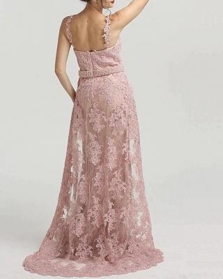Rosa Abendkleider Lang Spitze | Abendmoden Abiballkleider Online_2