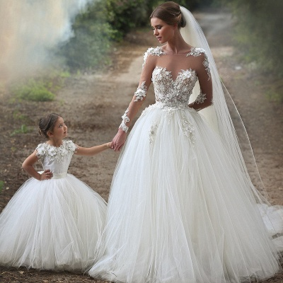 Sexy Juwel Long Sleeve Ball Gown Boho Wedding Dresses With Lace_2