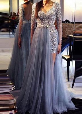 Fashion Blue Evening Dresses With Ämrel Tulle Sheath Dresses Evening Wear Long Online_1