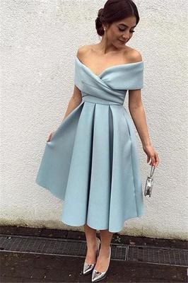 2021 Kurz Cocktailkleider Blau Schuterfrei Satin A Line Wadenlang Abendkleider Abendmoden Online_1