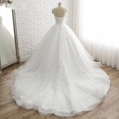 Modern White Wedding Dresses With Lace Princess Organza Wedding Gowns Online_3