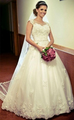 White Wedding Dresses Lace Beaded Ball Gown Organza Wedding Dresses_1