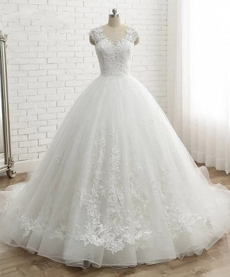 Modern White Wedding Dresses With Lace Princess Organza Wedding Gowns Online_1