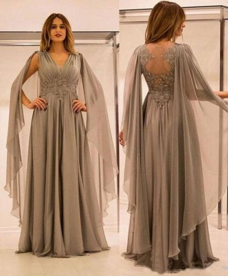 Gray Long Chiffon Evening Dresses Floor Length Prom Dresses Evening Wear Online_2