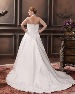 White Plus Size Wedding Dresses With Lace Taffeta A Line Large Size Wedding Gowns Custom Moderate_5