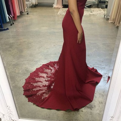 Wine red evening dresses cheap prom dresses with lace satin evening wear_2