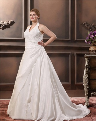 White Plus Size Wedding Dresses With Lace Taffeta A Line Large Size Wedding Gowns Custom Moderate_4