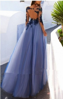 Elegant Evening Dresses Long With Sleeves Lace Tulle Prom Dresses Online_2