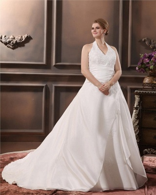 White Plus Size Wedding Dresses With Lace Taffeta A Line Large Size Wedding Gowns Custom Moderate_3