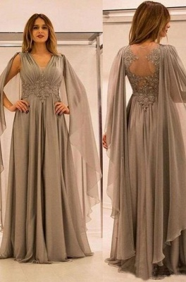 Gray Long Chiffon Evening Dresses Floor Length Prom Dresses Evening Wear Online_1