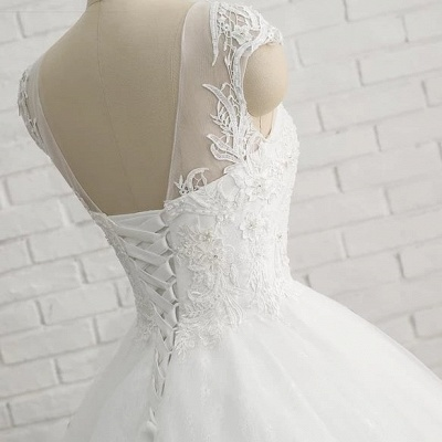 Modern White Wedding Dresses With Lace Princess Organza Wedding Gowns Online_4